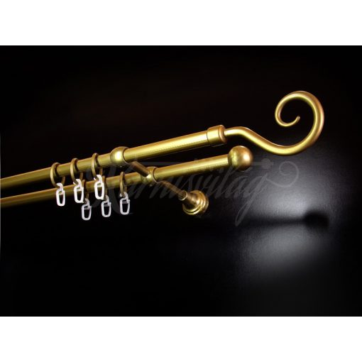 Műanyag-fém horog karnisszett kétsoros antik arany 200 cm