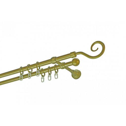 Műanyag-fém horog karnisszett kétsoros antik arany 300 cm