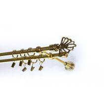 Modern mintáskétsoros fém függönykarnis szett antik arany