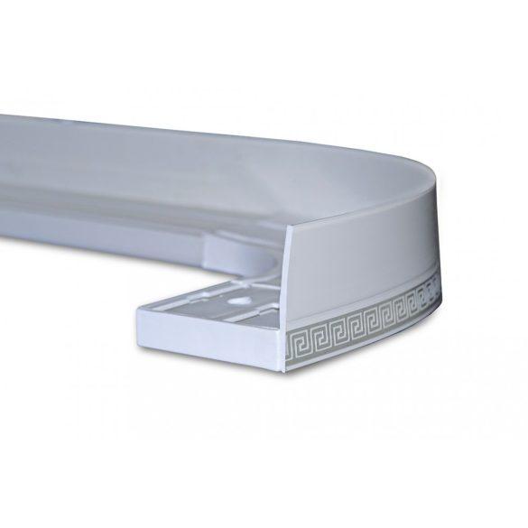 Mennyezeti sínes karnis dekor előlap fehér ezüst görög mintával 45 mm
