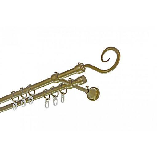 Siera horog kétsoros fém karnis szett antik arany 140 cm