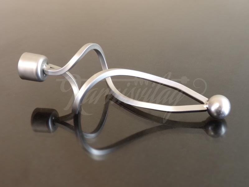 Falist szatén nikkel fém függönykarnis végzáró